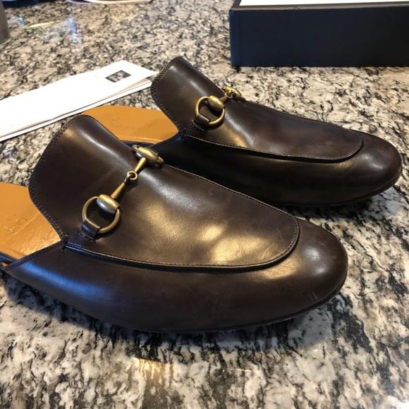 Men's Gucci brown leather Horsebit slipper size 8